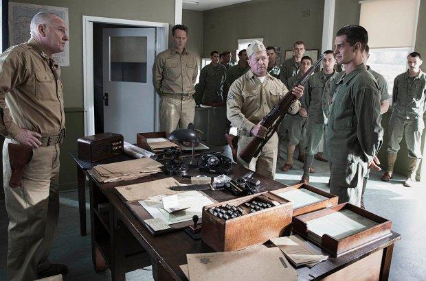 Robert Morgan, left, Vince Vaughn, center left, and Andrew Garfield, far right, in a scene from 'Hacksaw Ridge.'