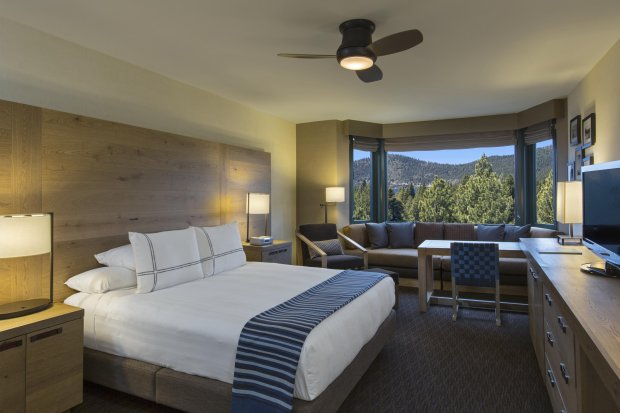 The rooms at the Hyatt Regency Lake Tahoe enjoy views of pine-covered mountains and the pristine skies above Lake Tahoe at Incline Village. (Photo: Hyatt Regency Lake Tahoe)