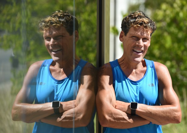 "Ultra marathon runner Dean Karnazes, 54, of Kentfield, is photographed at the Lafayette Library in Lafayette, Calif., on Tuesday, Sept. 20, 2016. Karnazes has written a new book, ""The Road to Sparta: Reliving the Ancient Battle and Epic Run That Inspired the World's Greatest Footrace"" and was in Lafayette to talk about his writing and running. (Susan Tripp Pollard/Bay Area News Group)"