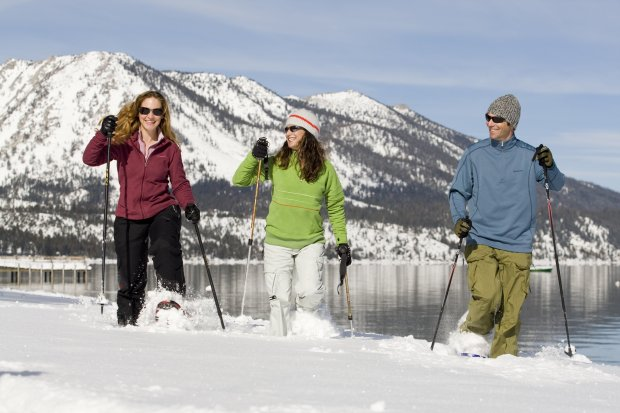 The bike trails that ring Lake Tahoe's short become cross-country and snow-shoe paths when the snow falls at Camp Richardson Resort on the southern shore. (Photo credit: Tom Zikas/Camp Richardson Resort)