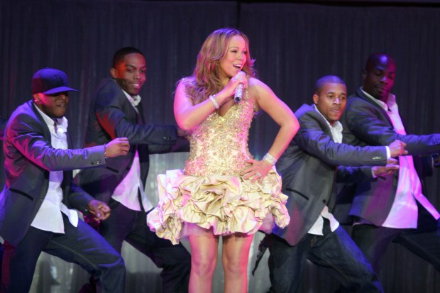 Mariah Carey performs with dancers during her concert at the Oracle Arena in Oakland, Calif., on Friday, Feb. 26, 2010. (Ray Chavez/Staff)