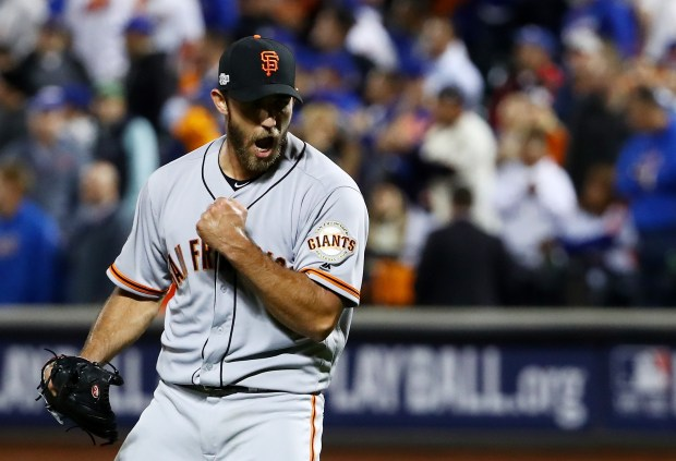 Madison Bumgarner #40 of the San Francisco Giants celebrates their 3-0 win over the New York Mets during their National League Wild Card game at Citi Field on October 5, 2016 in New York City. (Photo by Al Bello/Getty Images)