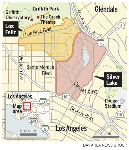 Locator map for Los Angeles' Los Feliz and Silver Lake neighborhoods. (Graphics: Dave Johnson/Bay Area News Group)
