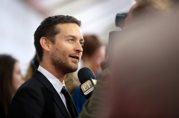 "TORONTO, ON - SEPTEMBER 11: Actor/producer Tobey Maguire is interviewed as he attends the ""Pawn Sacrifice"" premiere during the 2014 Toronto International Film Festival at Roy Thomson Hall on September 11, 2014 in Toronto, Canada. (Photo by Jemal Countess/Getty Images)"