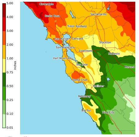 Roughly 1 inch of rain is expected to fall over many Bay Area cities this weekend, with 2-4 inches in the Santa Cruz Mountains and North Bay.