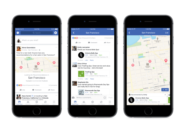 Facebook released a new tool that maps out recommendations provided by your friends. Photo provided by Facebook.