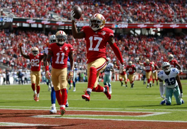 San Francisco 49ers' Jeremy Kerley (17) celebrates his touchdown against the Dallas Cowboys in the first quarter of their NFL game at Levi's Stadium in Santa Clara, Calif., on Sunday, Oct. 2, 2016. (Nhat V. Meyer/Bay Area News Group)