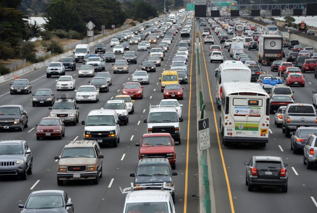 Traffic crawls along I-80 through Berkeley, Calif., on Monday, Oct. 3, 2016. (Kristopher Skinner/Bay Area News Group)