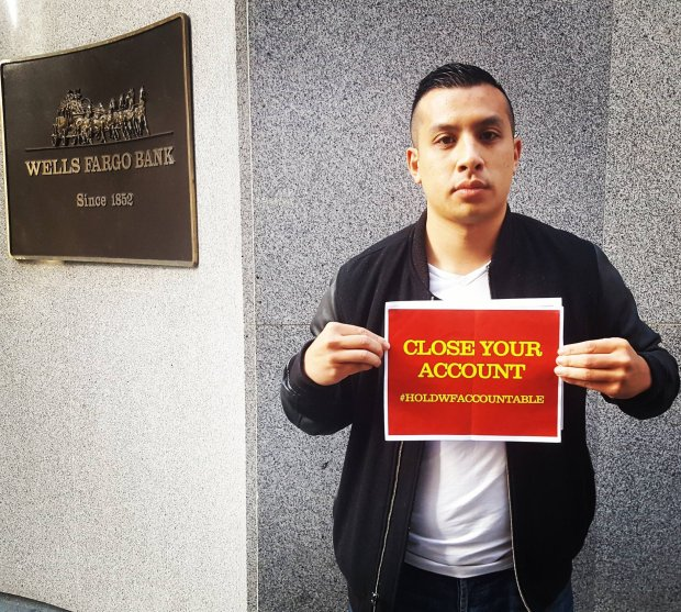 Courtesy Kevin Pham — Kevin Pham, of Daly City, is waging a one-man campaign against Wells Fargo, encouraging account holders to close their accounts and move to other banks or credit unions. Pham started his campaign after news broke regarding the 5,300 Wells employees who were fired for opening consumer credit, savings and checking accounts in clients names without their knowledge. Pham, a former Wells employee himself, said those practices were in place back when he worked there.