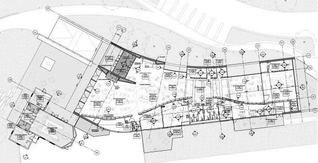 A floorplan for the new Atherton Library, showing the Historic Council Chambers at lower left, and the large entrance and children's area in the middle. (Courtesy of WRNS Studio and the Town of Atherton)