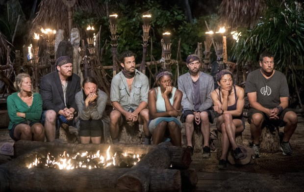 """Who's the Sucker at the Table?"" - Sunday Burquest, Chris Hammons, Jessica Lewis, Ken McNickle, Ciandre Taylor, David Wright, Lucy Huang and Bret LaBelle at Tribal Council on the fourth episode of SURVIVOR: Millennials vs. Gen. X, airing Wednesday, Oct. 12(8:00-9:00 PM, ET/PT) on the CBS Television Network. Photo: Monty Brinton/CBS Entertainment ©2016 CBS Broadcasting, Inc. All Rights Reserved."