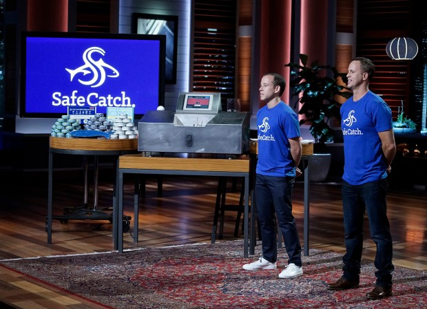 Sean Wittenberg and Bryan Boches pitch Safe Catch on 'Shark Tank.' (ABC/Michael Desmond)