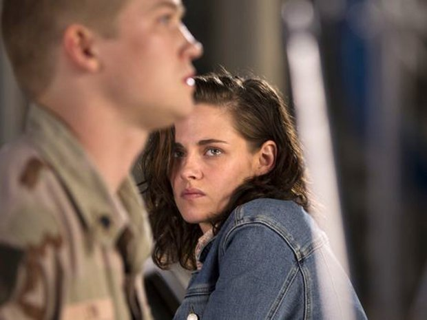 "Billy (Joe Alwyn) tells his sister Kathryn (Kristen Stewart) that he's got to go back to Iraq even though she wants him not to in ""Billy Lynn's Long Halftime Walk."" (Mary Cybulski/Columbia Pictures)"