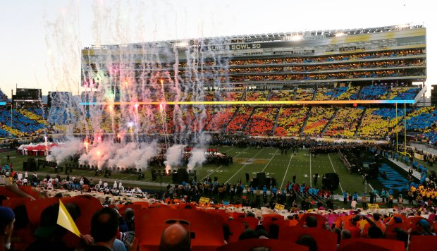 Fireworks explode over a colorful Super Bowl 50 halftime show in Levi's Stadium in Santa Clara, Calif., on Sunday, Feb. 7, 2016. (Jim Gensheimer/Bay Area News Group Archives)