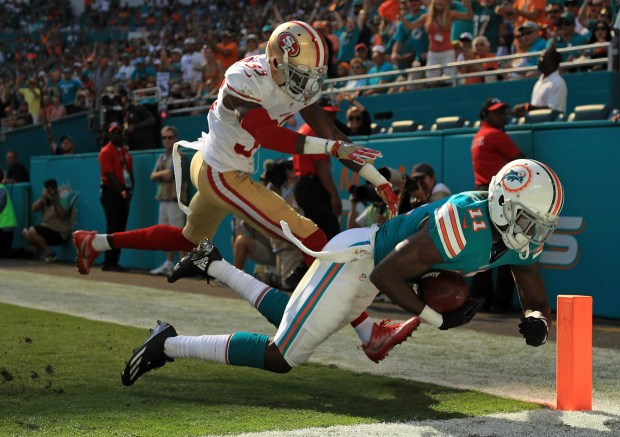 MIAMI GARDENS, FL - NOVEMBER 27: DeVante Parker #11 of the Miami Dolphins catches a pass out of bounds during a game against the San Francisco 49ers on November 27, 2016 in Miami Gardens, Florida.  (Photo by Mike Ehrmann/Getty Images)
