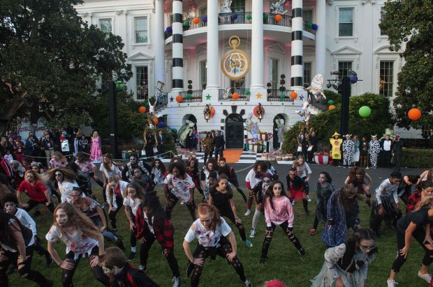 Children perform Michael Jackson's Thriller on the South Lawn of the White House. (Nicholas Kamm, AFP Getty)