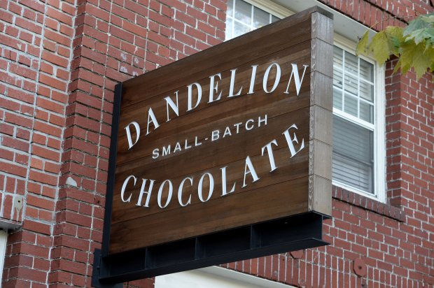 The sign out front at Dandelion Chocolate in San Francisco, Calif., photographed on Thursday, Nov. 3, 2016. Dandelion makes all of it's chocolate on site with only specially selected beans. (Dan Honda/Bay Area News Group)