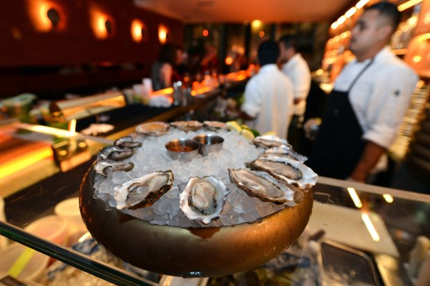 An order of oysters awaits a diner at Leo's Oyster Bar in San Francisco, Calif., on Monday, Nov. 21, 2016. (Kristopher Skinner/Bay Area News Group)