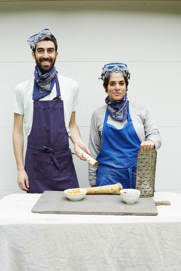 "New York's Gefilteria founders, Jeffrey Yoskowitz and Liz Alpern, are heading for Berkeley Dec. 1 to kibbitz on the topic of new wave, Old World Jewish foods and their new cookbook, ""The Gefilte Manifesto."" (Courtesy of Lauren Volo)"