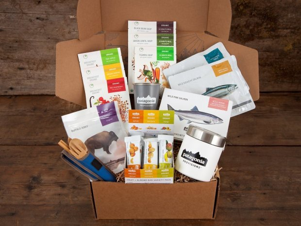Patagonia Provisions' Whole Shebang gift box delivers wild salmon, soups, hot grain cereals, fruit bars and jerky for backpacking and camping. Photo credit: Courtesy of Amy Kumler
