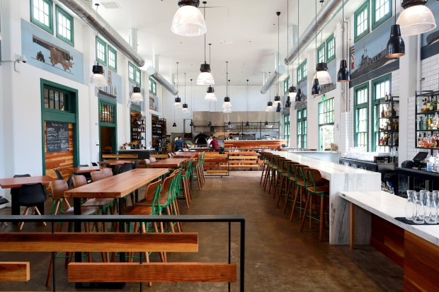 San Diego's old naval training station has become a hipster haven that includes wine bars, coffee bars, a Stone Brewing bistro and beer garden and other trendy dining destinations, including the new Mess Hall, pictured. (Courtesy of Robert Benson)
