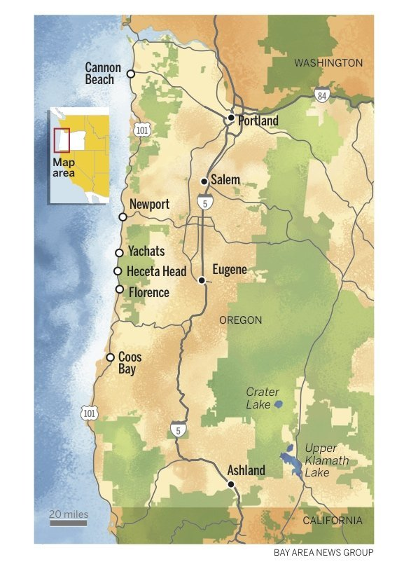 The Oregon Coast map Bay Area News Group
