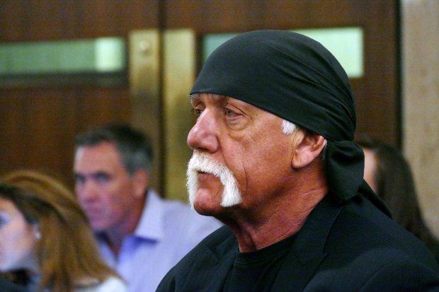 "FILE - In this May 25, 2016 file photo, Hulk Hogan, whose real name is Terry Bollea, appears in court in St. Petersburg, Fla. The shell of Gawker has settled with Hulk Hogan for $31 million, ending a years-long fight that led to the media company's bankruptcy, the shutdown of Gawker.com and the sale of Gawker's other sites to Spanish-language broadcaster Univision. Gawker founder Nick Denton in a Wednesday, Nov. 2 blog post said that the ""saga is over."" Denton filed for personal bankruptcy because of the $140 million verdict won by the former professional wrestler in a Florida court over a sex tape.(Scott Keeler/The Tampa Bay Times via AP, Pool)"