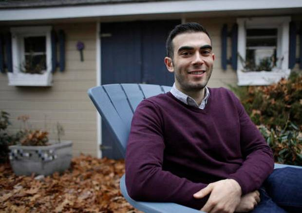 Joshua Pickar, of Lexington, Mass., sits for a photograph, Sunday, Nov. 20, 2016, in Lexington. The Rhodes Trust announced Sunday that Pickar is one of 32 Americans chosen as the 2017 Rhodes scholars. Pickar speaks several languages and plans a career in international law and policymaking. (Steven Senne AP Photo)