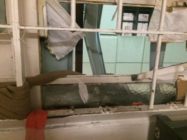Four inmates escaped through this window at the Santa Clara County main jail on Wednesday Nov. 23, 2016. Crime scene investigators said no cutting instruments were found inside the cell or in the around outside the jail. (Courtesy of Santa Clara County Sheriff)