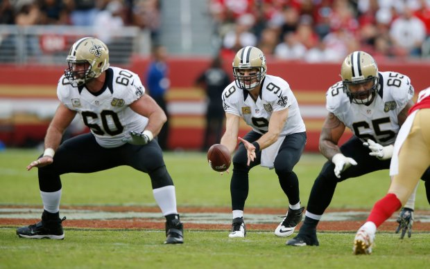 New Orleans Saints starting quarterback Drew Brees (9) gets the snap against the San Francisco 49ers in the second half of their NFL game at Levi's Stadium in Santa Clara, Calif., on Sunday, Nov. 6, 2016. (Josie Lepe/Bay Area News Group)