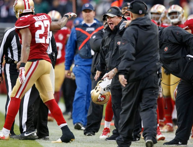 San Francisco 49ers head coach Chip Kelly yells at referees after a pass by the New England Patriots was caught out-of-bounds in the fourth quarter of their NFL game at Levi's Stadium in Santa Clara, Calif., on Sunday, Nov. 20, 2016. (Nhat V. Meyer/Bay Area News Group)
