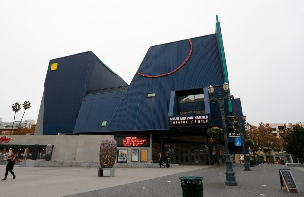 """The exterior of the Hammer Theater in San Jose, Calif., on Tuesday, Nov. 15, 2016. The iconic downtown venue known as """"The Blue Box, """" the Hammer Theater which is now being operated by San Jose State University, will relaunch as a public arts venue with a festive holiday production, Tandy Beal's """"Nutz Re-Mixed!"""" The Hammer Theater formerly housed San Jose Repertory Theatre, which went bankrupt in 2014. (Josie Lepe/Bay Area News Group)"""