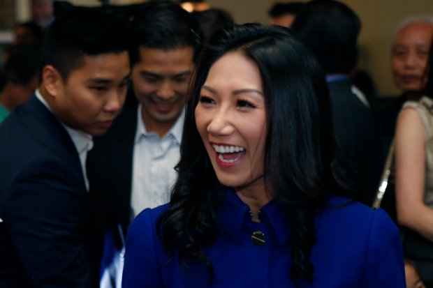 Madison Nguyen, candidate for California's 27th Assembly District, mingles with supporters at her election night party Tuesday, Nov. 8, 2016, in San Jose, Calif. (Karl Mondon/Bay Area News Group)