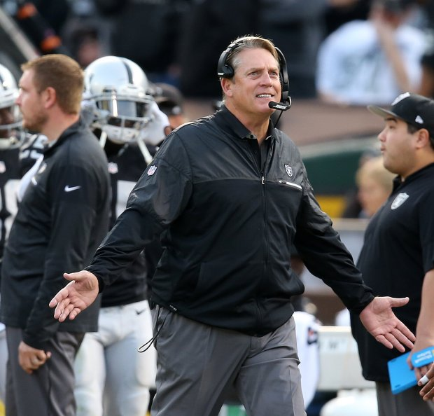 Oakland Raiders head coach Jack Del Rio is photographed during their game against the Carolina Panthers on Sunday, Nov. 27, 2016, in Oakland, Calif. (Aric Crabb/Bay Area News Group)