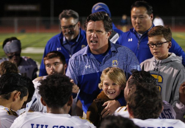 Junipero Serra coach Patrick Walsh addresses the team after defeating Saint Francis, 31-17, during the Central Coast Section Open Division II semifinal at Saint Francis High School Friday, Nov. 18, 2016, in Mountain View, Calif. (Jim Gensheimer/Bay Area News Group)