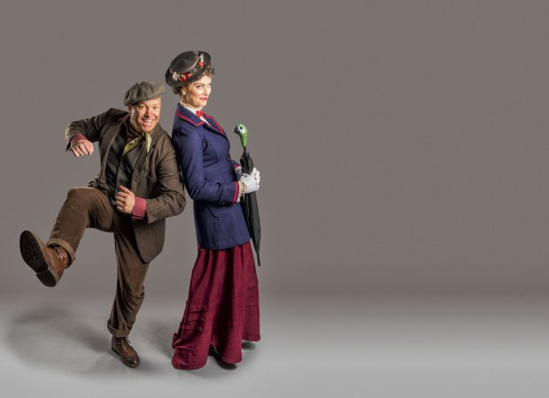 """Jim Ambler, left, and Cailin McGinty in a pre-production promo shot for """"Mary Poppins,"""" which is to play at Hillbarn Theatre in Foster City, Nov. 25 through Dec. 18, 2016. (Mark & Tracy Photography / Hillbarn Theatre)"""