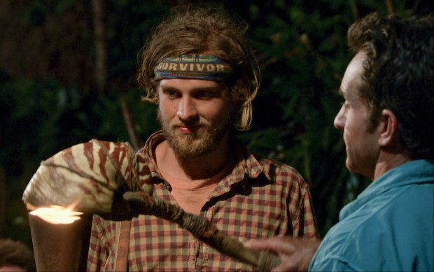 """Still Throwin' Punches"" - Jeff Probst extinguishes Taylor Stocker's torch at Tribal Council on the ninth episode of SURVIVOR: Millennials vs. Gen. X, airing Wednesday, Nov. 16 (8:00-9:00 PM, ET/PT) on the CBS Television Network. Photo: Screen Grab/CBS Entertainment ©2016 CBS Broadcasting, Inc. All Rights Reserved."