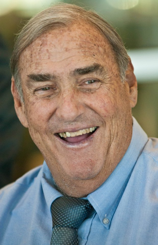 Tom Martinez, longtime friends and former coach of New England Patriots quarterback Tom Brady, at the College of San Mateo's Hall of Fame induction ceremony in September 2011. (Courtesy: College of San Mateo.)
