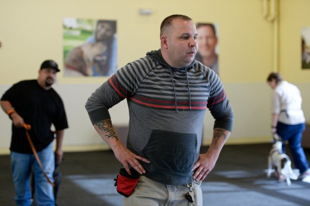 Trainer Danny Kimbrell observes veterans during a training program called Pets and Vets at Tony La Russa's Animal Rescue Foundation in Walnut Creek, Calif. on Thursday, Nov. 3, 2016. The program matches veterans with shelter dogs who then help veterans who may be struggling with PTSD or emotional trauma as they transition back to civilian life. (Jose Carlos Fajardo/Bay Area News Group)
