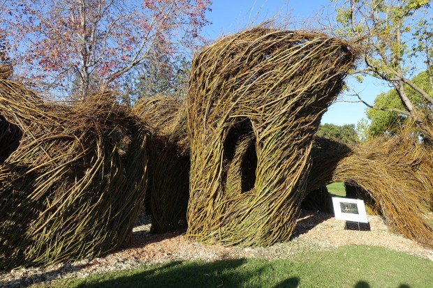"Artist Patrick Dougherty's new willow sculpture, ""Whiplash,"" is on public display at the Palo Alto Art Center. (Photo courtesy Palo Alto Art Center)"