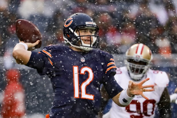 CHICAGO, IL - DECEMBER 04: Quarterback Matt Barkley #12 of the Chicago Bears throws the football in the second quarter against the San Francisco 49ers at Soldier Field on December 4, 2016 in Chicago, Illinois. (Photo by Jonathan Daniel/Getty Images)