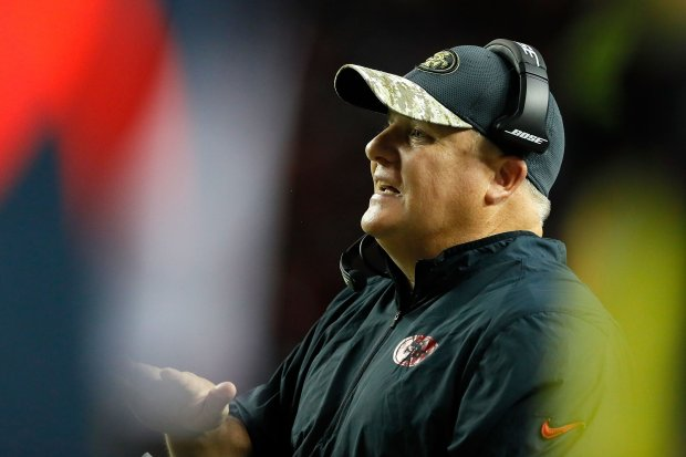 ATLANTA, GA - DECEMBER 18: Head coach Chip Kelly of the San Francisco 49ers looks on during the first half against the Atlanta Falcons at the Georgia Dome on December 18, 2016 in Atlanta, Georgia. (Photo by Kevin C. Cox/Getty Images)