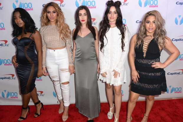 SUNRISE, FL - DECEMBER 18: (L-R) Normani Hamilton, Dinah Jane Hansen, Lauren Jauregui, Camila Cabello, and Ally Brooke of Fifth Harmony attend the Y100's Jingle Ball 2016 - PRESS ROOM at BB&T Center on December 18, 2016 in Sunrise, Florida. (Photo by Gustavo Caballero/Getty Images for iHeart)