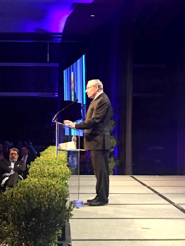 """What I really worry about is secret government,"" journalism icon Bob Woodward told the crowd. ""Secret government will do us in. Democracies die in darkness."""