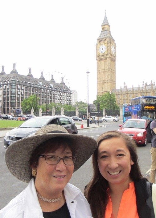 *ENGLAND:* Portola Valley residents Ted Kitada (behind the camera), KarenYamashita and 28-year-old daughter Kimberly Kitada, who works for Independent Curators International in Manhattan, spent a week gallery-hopping in London. (Photo courtesy of the Kitada Family)