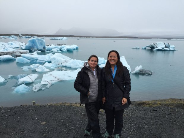 *ICELAND:* San Rafael resident Rebecca Cherin, left, and Oakland's AllisonTom, visited the Jokulsarlon Lagoon, icebergs and glacier lakes in Iceland in September. (Photo courtesy Allison Tom)