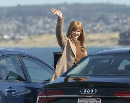 """Nicole Kidman waves to a large group of fans watching as a crew films a scene for the HBO series """"Big Little Lies"""" at Wharf No. 2 in Monterey on Tuesday January 26, 2016. (David Royal - Monterey Herald)"""