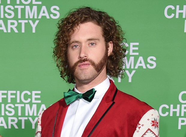 "FILE - This Dec. 7, 2016 file photo shows T.J. Miller at the Los Angeles premiere of ""Office Christmas Party."" Los Angeles police say Miller was arrested early Friday, Dec. 9, after a driver accused him of battery. Miller was released on his own recognizance and his arrest will not affect his hosting duties for Sunday's Critics' Choice Awards. (Photo by Jordan Strauss/Invision/AP)"