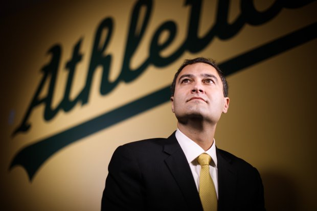 Oakland A's new president Dave Kaval poses for a portrait on Dec. 16, 2016 at A's executive offices in Oracle Arena. (Dai Sugano/Bay Area News Group)