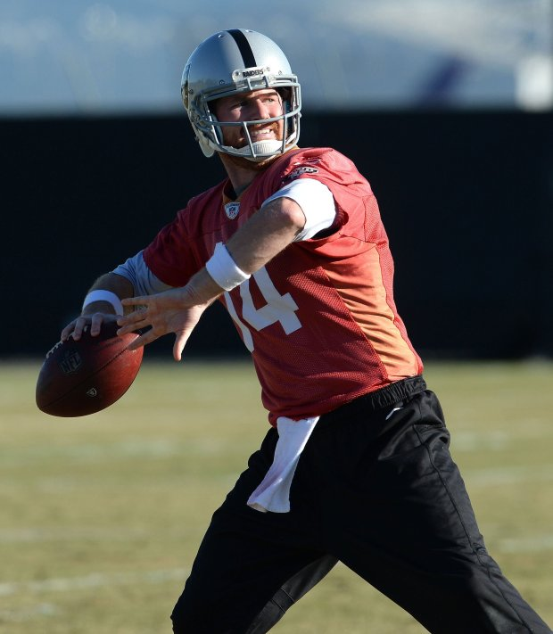 Oakland Raiders quarterback Matt McGloin throws a pass during practice at the team's practice facility in Oakland, Calif., on Wednesday, Dec. 28, 2016. With the injury to starting quarterback Derrick Carr, McGloin is now the starting quarterback as the team prepares for the final game of the season and the playoffs. (Dan Honda/Bay Area News Group)